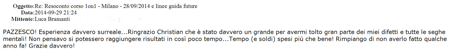 Feedback Christian 1on1 Milano 28-Settembre-2014