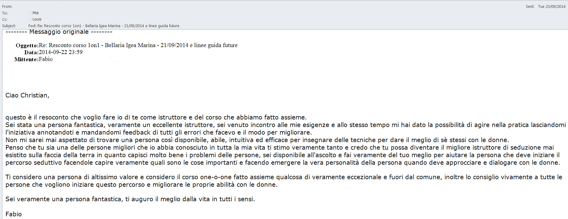Feedback Christian 1on1 Rimini 21-Settembre-2014