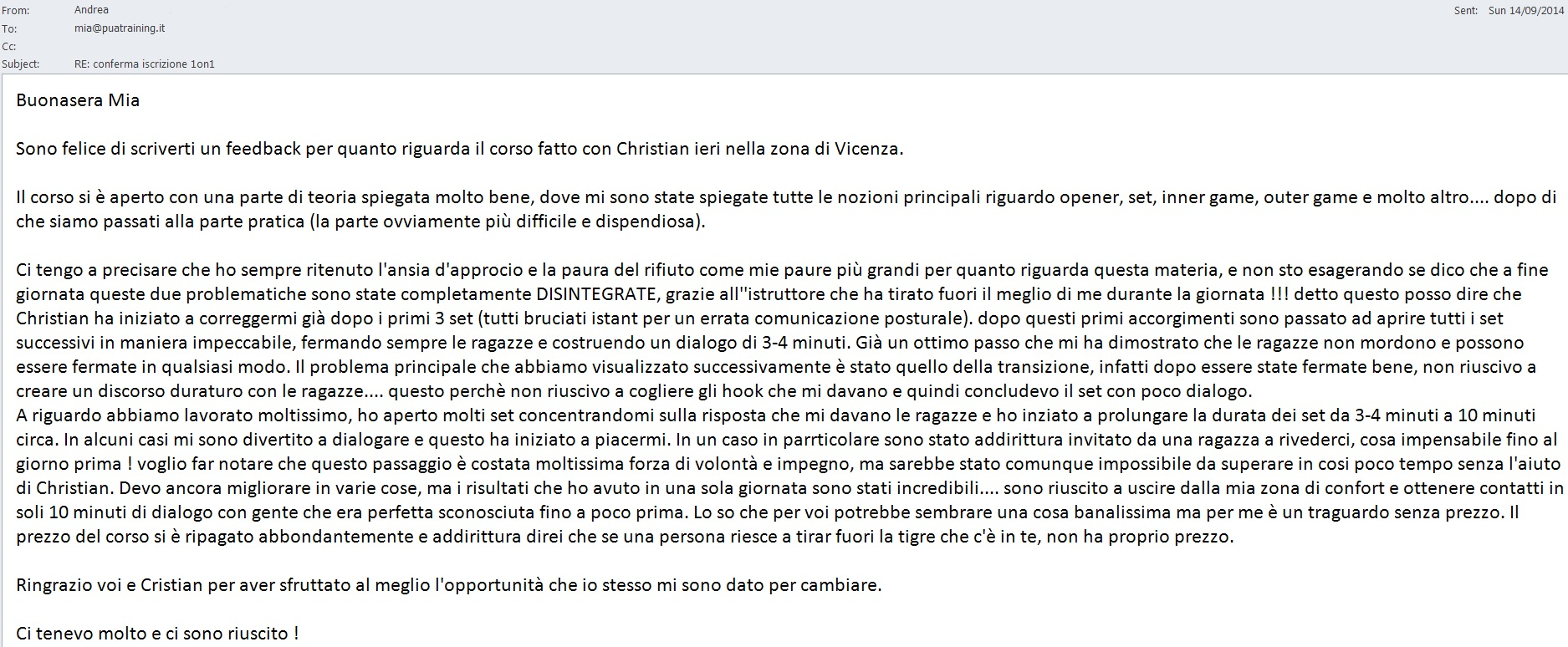 Feedback Christian 1on1 Vicenza 13-Settembre-2014